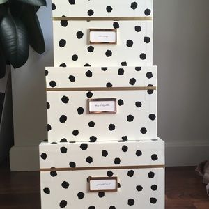 Kate Spade Nesting Boxes, Cream with Black Spots
